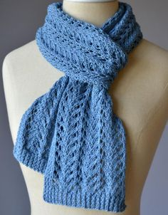 Free Knitting Pattern for 4 Row Repeat Lace Scarf - The lace in this scarf is a 4 row repeat trimmed with edges of 2 row repeat twisted rib. Designed by the Universal Design Team.