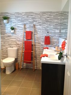 Friends ensuite bathroom I styled to match their bedroom.