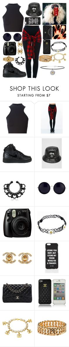 """Untitled #153"" by im-gone-slayy ❤ liked on Polyvore featuring Versace, NIKE, Stussy, The Row, Fujifilm, Jac Vanek, Rolex, Chanel and Topshop"