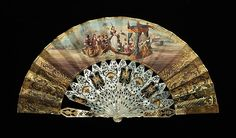 Fan Date: 1840–70 Culture: probably French Medium: mother-of-pearl, paper, gouache, metal