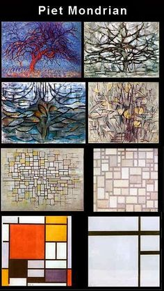 Mondrian tree progression - have students do a series of sketches to transform an object into abstract formalism