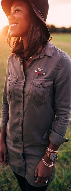 Fall Look: Olive long denim shirt, leggings, belted booties, black wool fedora, #jordwatch   SidelineSocialite.com