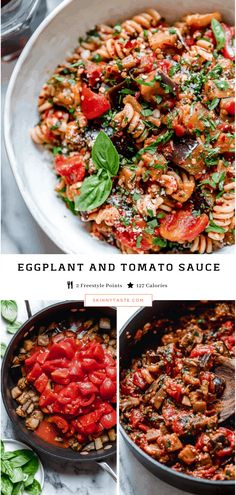This Delicious Eggplant & Tomato Sauce Recipe Makes Pasta Perfect! - Eggplant and Tomato Sauce is delicious and so simple to make. This vegetarian friendly recipe is amazing when served over pasta or zucchini noodles! Eggplant Recipes Pasta, Eggplant Pasta, Pasta Sauce Recipes, Pasta Sauces, Noodle Recipes, Tomato Pasta Sauce, Tomato Sauce Recipe, Skinny Recipes, Gourmet
