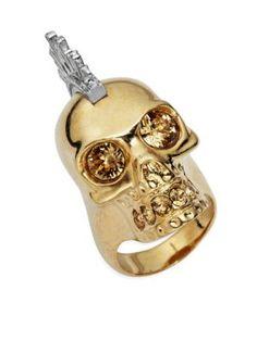 ALEXANDER MCQUEEN Rock Crystal-Encrusted Skull Ring. #alexandermcqueen #ring