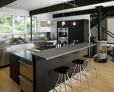 boston massachusetts kitchen island black modern interior