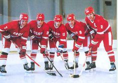 Along with Larionov and Sergei Makarov, Krutov helped make the KLM line one of the most potent forward lines in hockey history. With Alexei Kasatanov and Viacheslav Fetisov in the mix as well, the Green Unit (pictured above) was one of the most feared five man arrangements in international hockey.
