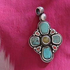 Nepal - antique talisman silver pendant