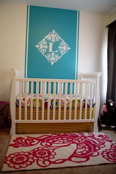 Turquoise + hot pink = FABULOUS! #pink #turquoise #baby #nursery nice with yours and Brett's initials over bed head or over front door as people are leaving