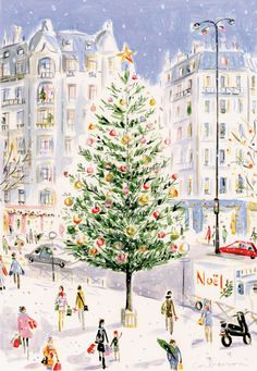 Lovely watercolor Christmas Tree in European town square Christmas Card[by Dominique Corbasson]