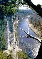 Limestone bluffs over the Upper Iowa river. Decorah, IA