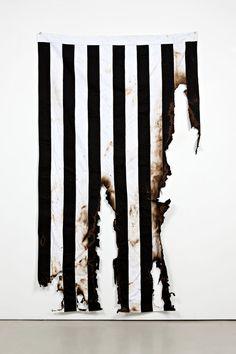 Gardar Eide Einarsson, Burned Flag (Sons of Liberty), Burnt textile, 250 x 150 x cm / x x via Standard (Oslo) Oslo, Gothic Architecture, Textiles, Installation Art, Textures Patterns, Print Patterns, Monochrome, Burns, Contemporary Art