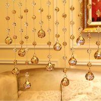 20 Strands/lot, Champagne Crystal Beaded Strands Crystal Beaded Curtain Door Curtains for doorways and room divider DH206