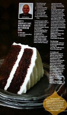 Duff's Chocolate cake with American Buttercream Icing.