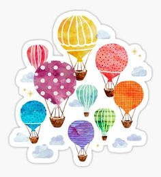 'Hot Air Balloon' Poster by weirdoodle - Gestalten - Ballon Illustration, Balloon Painting, Painting Art, Doodles, Watercolor Cards, Watercolor Heart, Watercolor Print, Watercolor Paintings, Art Projects