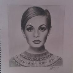 Twiggy Portrait Pencil Drawing