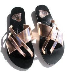 Your place to buy and sell all things handmade Slide Sandals, Strap Sandals, Greek Sandals, Gold Leather, Handmade Leather, Leather Sandals, Buy And Sell, Rose Gold, Toe
