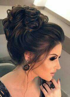 for mom, nice high curled bun with volume from the hairline