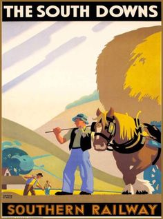 South-Downs-Railway-Scotland-Great-Britain-Vintage-Travel-Advertisement-Poster