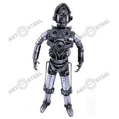 This C-3PO statue has nuts for eyes, palms, knees, biceps, and ears. You can also see ball bearings at the center of the chest and at the upper body just under the armpits. Screws and spark plugs are very visible as well.  $99.99