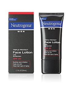 Neutrogena Men® Triple Protect Face Lotion with sunscreen SPF 20 - I use this in the winter when my skin is drier. Great feel and a pleasant, not-too-strong scent.