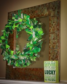 St. Patty's Day rag wreath     Used the following tutorial:  http://www.tiffanyruda.com/how-to-make-a-rag-wreath/