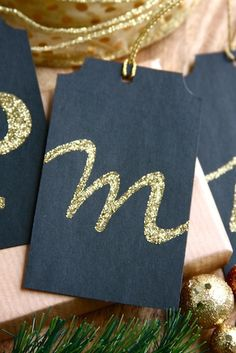 DIY Black & Gold Monogram Gift Tags