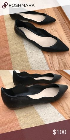 Black wavy ballet flats Leather black pointed flats with wave detail. Size 7, runs a tiny bit smaller. Very good condition. Great with a pair of jeans or cropped pants. Loeffler Randall Shoes Flats & Loafers