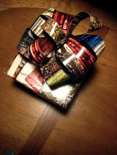 Recycled magazine pages. Check out this post at From Scratch for more green wrapping paper ideas!