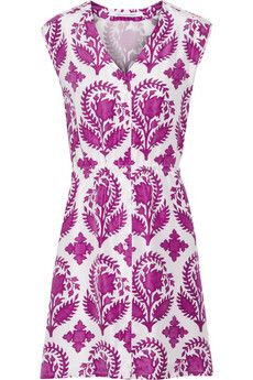Diane von Furstenberg Lilac printed silk-habotai dress | NET-A-PORTER. Sooo cute for summer!
