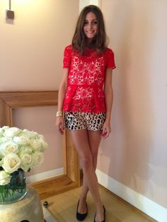 Olivia Palermo and Tibi Cheetah Shorts. #lacered & #cheetah