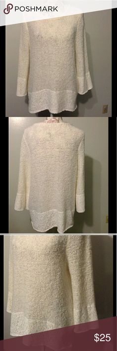 Chicos boucle cream lace sweater In excellent condition.. Great over a pair of leggings Chico's Sweaters Crew & Scoop Necks