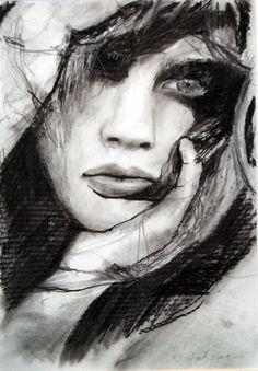 ,...  , australian romantic art, . Emotional Breakdown..by  Kristian Mumford ,Australia ....Drawing Charcoal