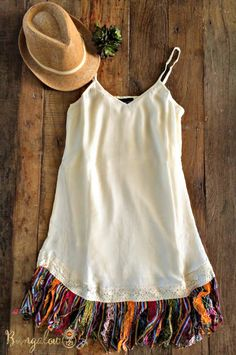 Serape Fringe Dress - Off-White