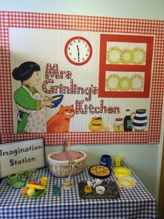 Mrs Grinling's Kitchen, The lighthouse keepers lunch, display and play area. Ledbury Primary School by Nicky Jevon School Displays, Classroom Displays, Play Based Learning, Home Learning, Home Corner Ideas Early Years, Eyfs Classroom, Classroom Ideas, Lighthouse Keepers Lunch, Nursery Display Boards