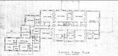 Arbremont original second floor plan, now Hillwood, Washington DC