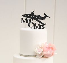 Original Airplane Wedding Cake Topper Mr and by ThePinkOwlDesigns