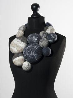 "Charlotte Molenaar Viltwerk - necklace -Boulders (necklace), 2015 felted wool with silk fibers, total length 39"" - 750$"
