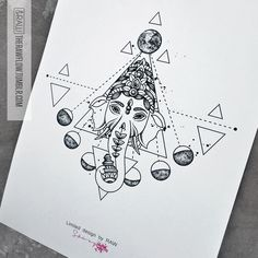 Ganesha moon astronomy tattoo design (custom design for Vimal Tailor)