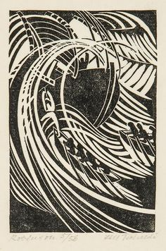 Lill Tschudi Robinson (not in C)linocut, signed, titled and numbered in pencil, on thin japan paper,. Italian Futurism, Futurism Art, Linoprint, Fine Art Auctions, Monochrom, Art Graphique, Linocut Prints, Woodblock Print, Sculpture