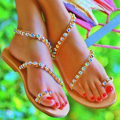Copy of Andromeda Swarovski AB (Rainbow) - flat sandal Greek Sandals, Flat Sandals, Retail Therapy, Swarovski, Abs, Rainbow, My Style, Beautiful, Shoes