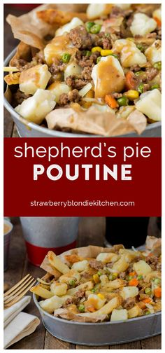 Crispy fries piled high with beef and mixed veggies, smothered in Guinness gravy and topped with cheese curds make for one awesome Shepherd's Pie Poutine.