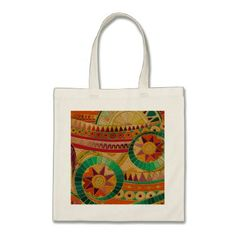Colorful Tribal Ethnic  Pattern Embossed Leather Tote Bag - accessories accessory gift idea stylish unique custom