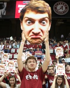 """""""Now, all of his friends from his hometown of Tuscaloosa do The Face and so do fans at Alabama basketball games."""""""