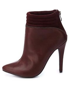 Quilted Zipper-Trim Pointed Toe Booties: Charlotte Russe