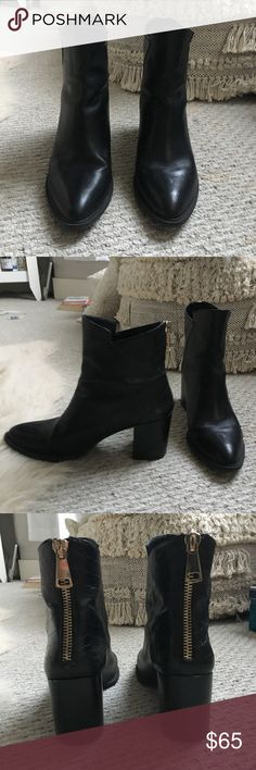 ZARA Black Booties These beautiful booties are from Zara! They're a reposh... a little too small for me. They're in fantastic condition and have only been worn a few times by the previous posher! Zara Shoes Ankle Boots & Booties