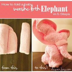 Simple tutorial on how to fold a Washcloth Elephant with LOTS of pictures so you will not get lost in the process! Make for the next baby shower you attend!