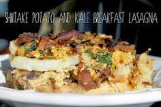 Shiitake, Potato, and Kale Breakfast Lasagna