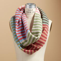 """STRIPED INFINITY SCARF--A loop of lambswool in muted tones keeps you warm from here to eternity. Hand wash. Imported. Approx. 19""""W x 73""""L."""