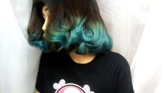 beautiful brown and turquoise blue hair