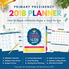 This 2018 LDS Primary Theme Presidency Planner is a DELUXE package that offers everything you will need to stay organized this upcoming year! Over 90 valuable pages will help assist you in your responsibilities and calling! Simply download the PDF files, open them in Adobe Reader, add text to the planner pages, print on Letter size paper, and insert into a binder. This is a DIGITAL INSTANT DOWNLOAD. A Printable PDF file will be available to download upon purchase. See below for details on…